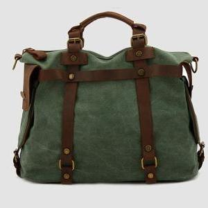 Fashion Messenger bag in Green / Br..