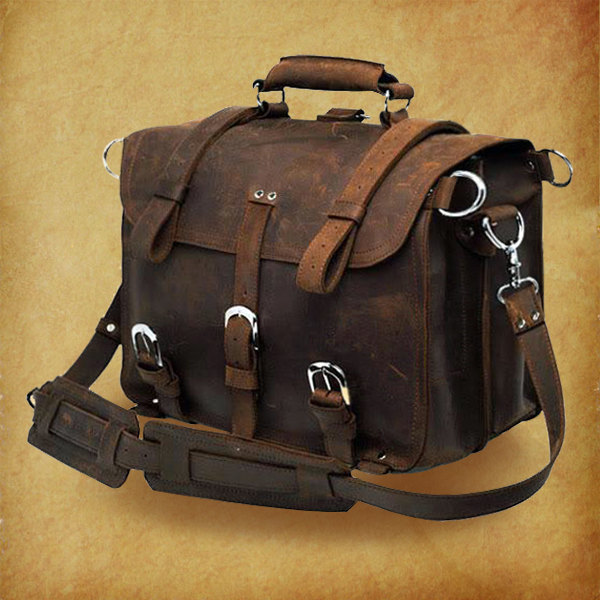 High Quality Genuine Crazy Horse Leather Bag Rugged