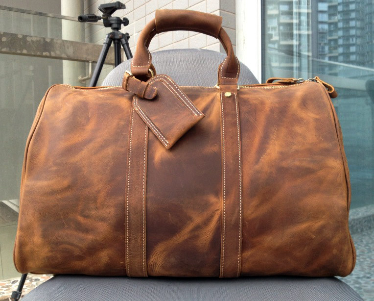 Large Travel Bag Genuine Leather Briefcase Men Weekend Messenger Luggage Bags Travelling Y30