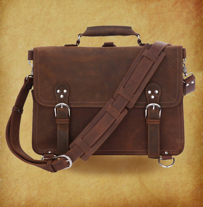 High quality genuine leather Bag / Rugged Leather Briefcase / Backpack / Messenger / Laptop / Traveling Bags / Men's Bag / Retro Bag -- Y22