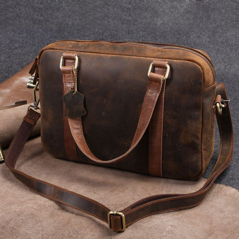 Retro Men S Travel Bag Leather Briefcase Messenger Laptop Gift T46