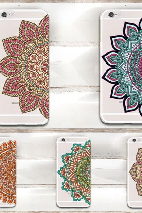 High Quality Mandala Floral Phone Case Ultra Thin Transparent Clear Soft TPU Case Cover For 4 4s/5 5s/6 6s