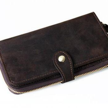 Handmade Genuine Leather wallet / men's wallet / briefcase / leather purse/ leather case-T63